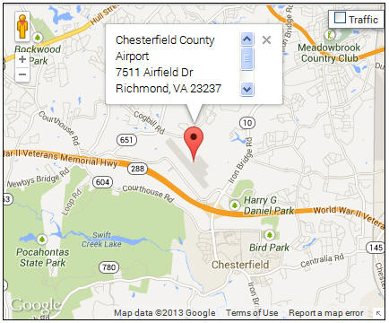 Chesterfield airport map