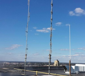 RARC D-Star repeater antennas high above downtown Richmond